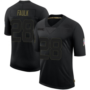 Men's Nike Indianapolis Colts Marshall Faulk Black 2020 Salute To Service Jersey - Limited