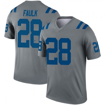 Men's Nike Indianapolis Colts Marshall Faulk Gray Inverted Jersey - Legend
