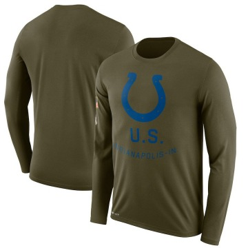 Men's Nike Indianapolis Colts Olive 2018 Salute to Service Sideline Performance Long Sleeve T-Shirt - Legend