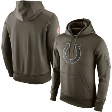 Men's Indianapolis Colts Olive Salute To Service KO Performance Hoodie -