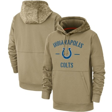 Men's Nike Indianapolis Colts Tan 2019 Salute to Service Sideline Therma Pullover Hoodie -