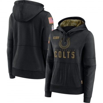 Women's Indianapolis Colts Black 2020 Salute to Service Performance Pullover Hoodie -