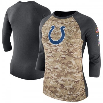 Women's Nike Indianapolis Colts Camo /Charcoal Salute to Service 2017 Three-Quarter Raglan Sleeve T-Shirt - Legend