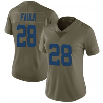 Women's Nike Indianapolis Colts Marshall Faulk Green 2017 Salute to Service Jersey - Limited