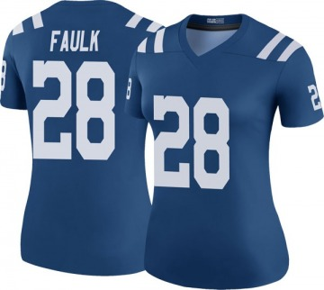 Women's Nike Indianapolis Colts Marshall Faulk Royal Color Rush Jersey - Legend