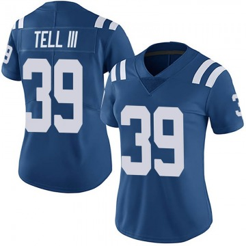Women's Nike Indianapolis Colts Marvell Tell III Royal Team Color Vapor Untouchable Jersey - Limited