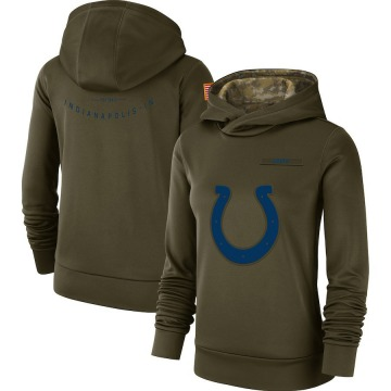Women's Nike Indianapolis Colts Olive 2018 Salute to Service Team Logo Performance Pullover Hoodie -