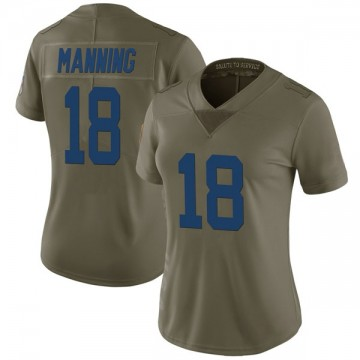 Women's Nike Indianapolis Colts Peyton Manning Green 2017 Salute to Service Jersey - Limited