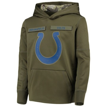 Youth Nike Indianapolis Colts Green 2018 Salute to Service Pullover Performance Hoodie -