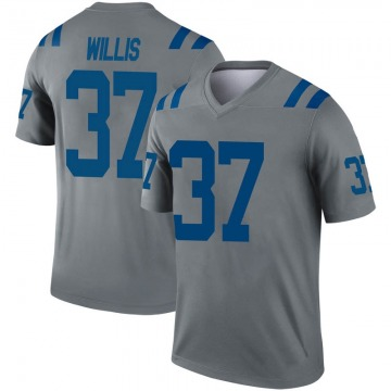 Youth Nike Indianapolis Colts Khari Willis Gray Inverted Jersey - Legend