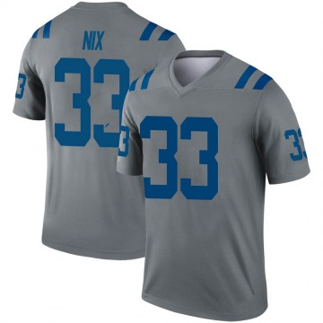 Youth Nike Indianapolis Colts Roosevelt Nix Gray Inverted Jersey - Legend